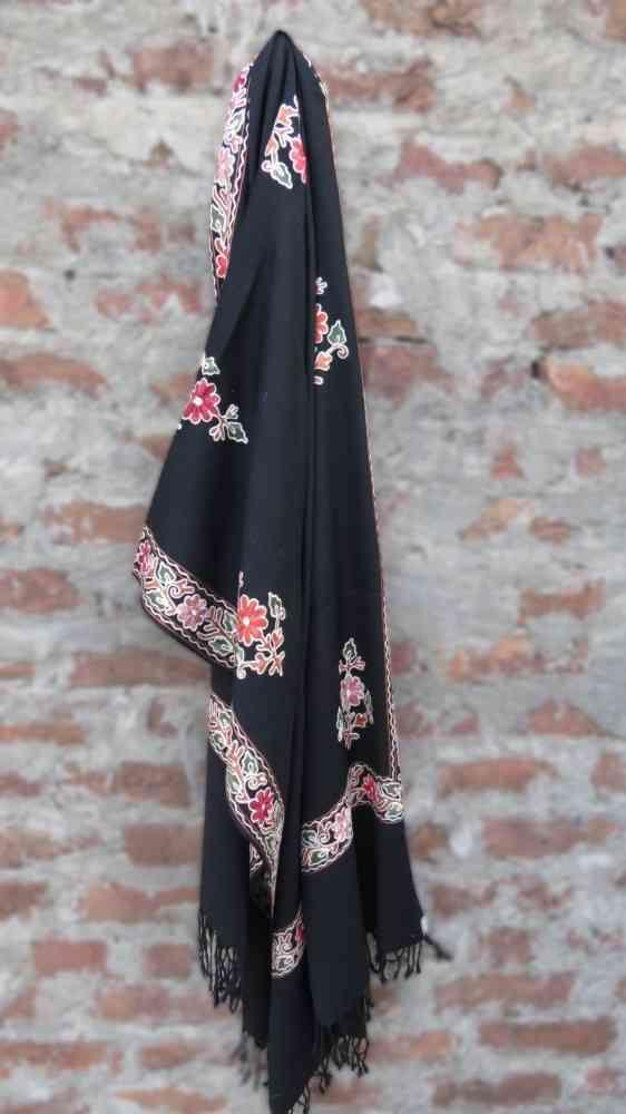Black Floral Embroidered Indian Scarves Online