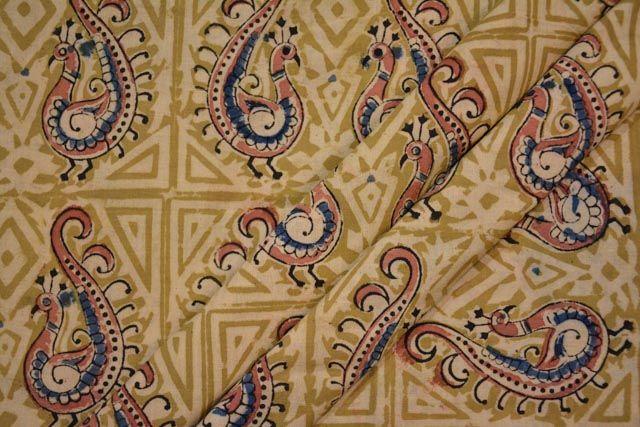 Peacock Block Printed Kalamkari Fabric