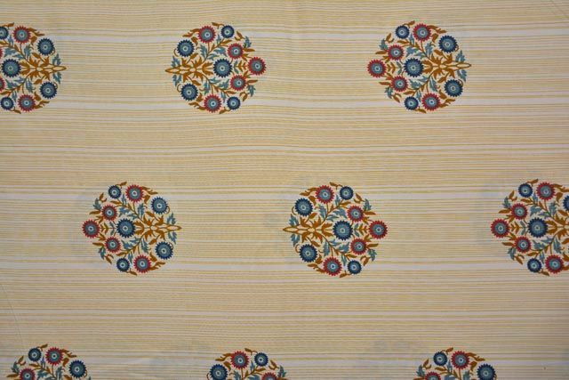 Striped Floral Rayon Fabric