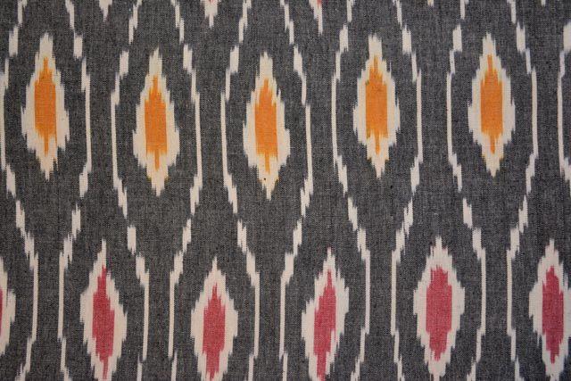 Dark Grey Upholstery Ikat Fabric