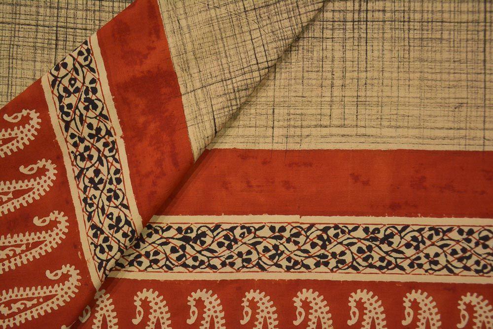 Brush Paint Hand Block Printed Cotton Fabric