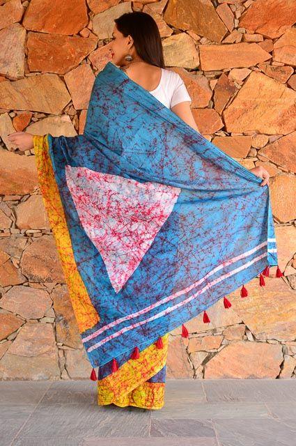 Bluish Grey Shibori Block Printed Cotton Sarees