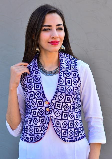 Geometric Block Print Reversible Cotton Quilted Jackets