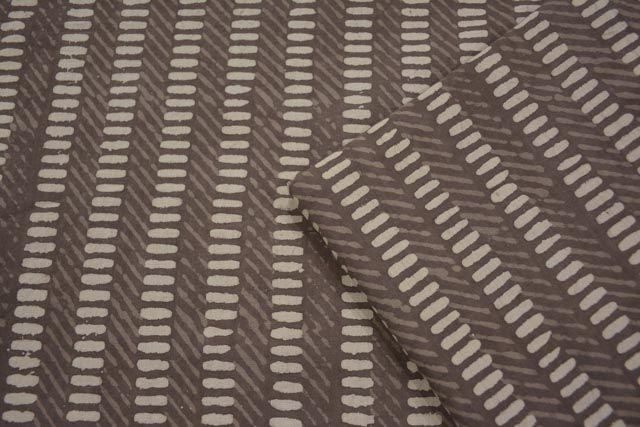 Kashish Grey Striped Block Printed Cotton Fabric