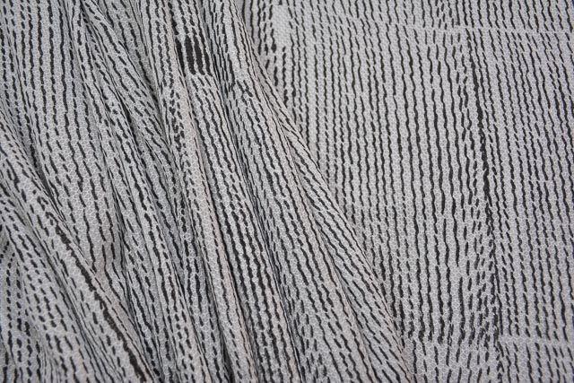 Wave Block Printed Natural Organic Orange Fiber Fabric