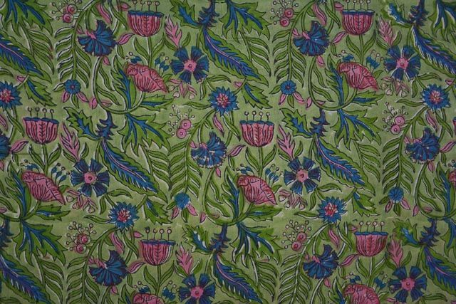 Green Floral Hand Block Print Cotton Mulmul/voile Fabric