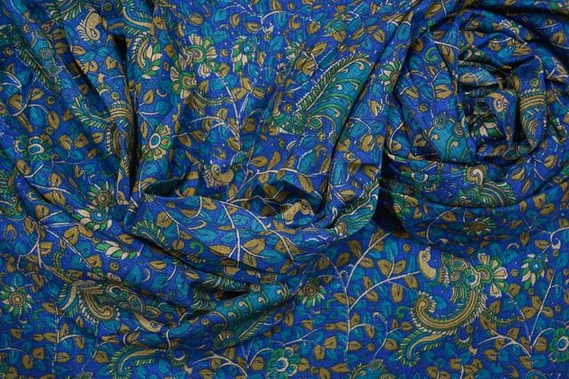 Blue Manipuri Art Silk Fabric
