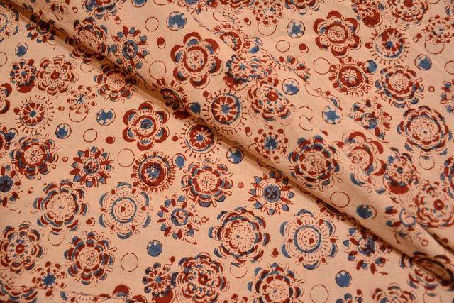 Floral Block Printed Kalamkari Fabric Online