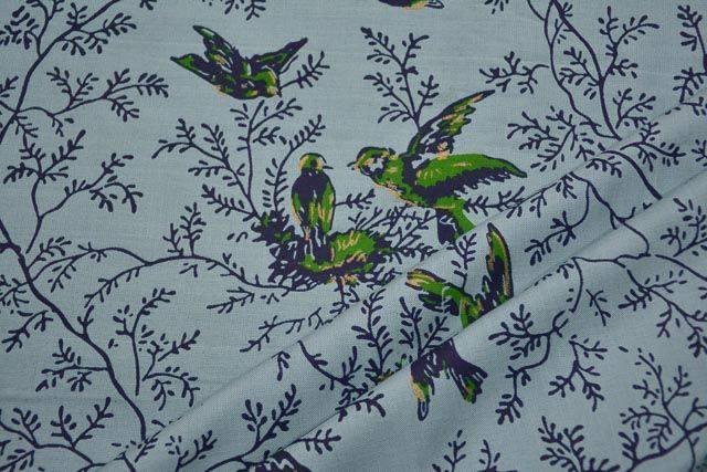 Greyish Blue Bird Printed Rayon Fabric