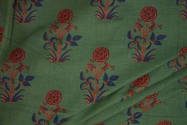 Dark Grass Green Floral Print Indian Slub Cotton Fabric