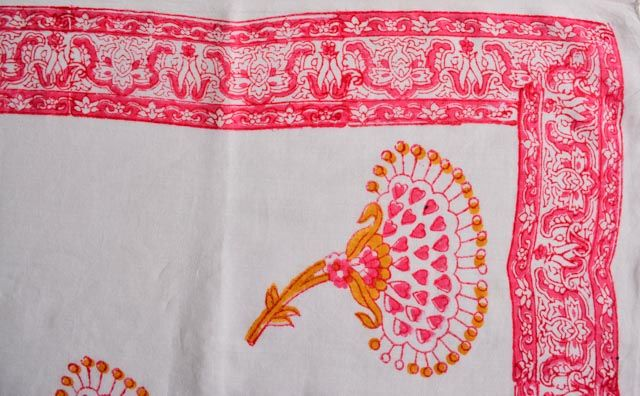 White And Pink Block Printed Pareo Sarong