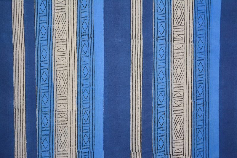 Marina Blue Striped Cotton Block Printed Fabric