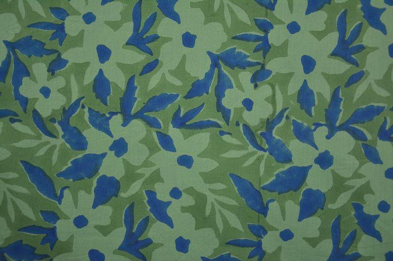Green Spruce Floral Sanganeri Block Printed Fabric