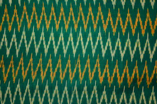 Green Handloom Fine Ikat Fabric