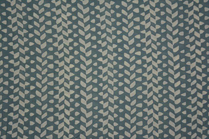 Grey And White Designer Block Print Modal Fabric