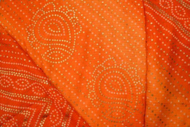 Foil Print Bandhani Kota Doria Fabric