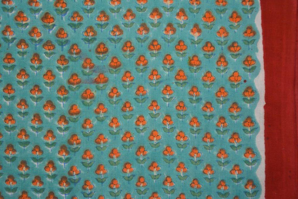 Orange Floral Hand Block Printed Cotton Fabric