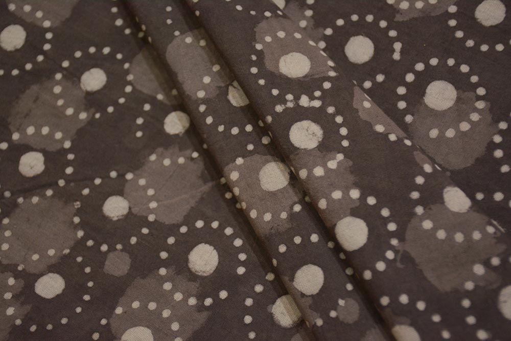 Kashish Grey Circle Hand Block Printed Cotton Fabric