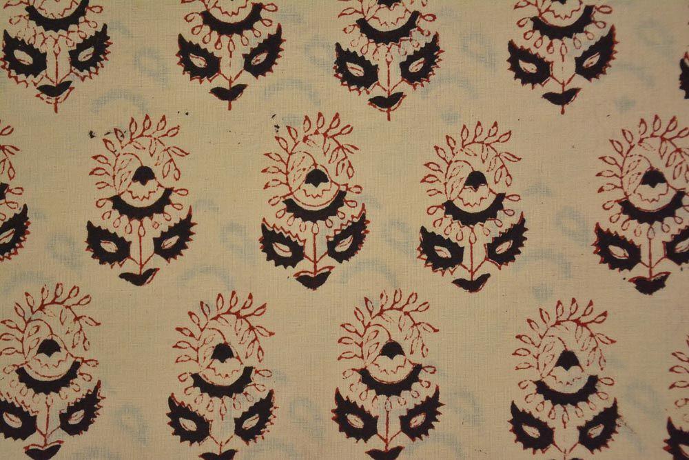 Bagru Floral Hand Block Printed Cotton Fabric