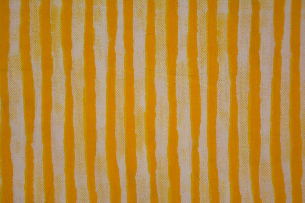 Yellow Striped Printed Cotton Fabric