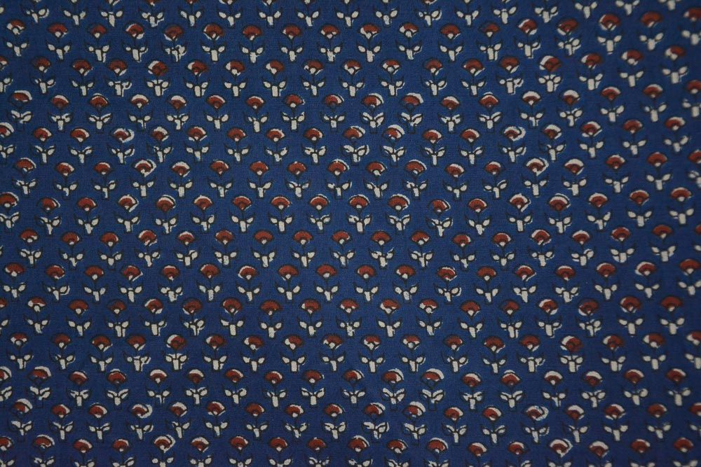 Blue Floral Printed Cotton Fabric