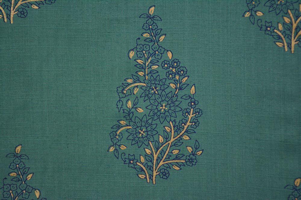 Denim Green And Blue Floral Slub Rayon Fabric