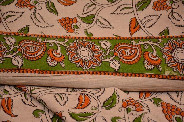 Leaf Block Printed Kalamkari Fabric
