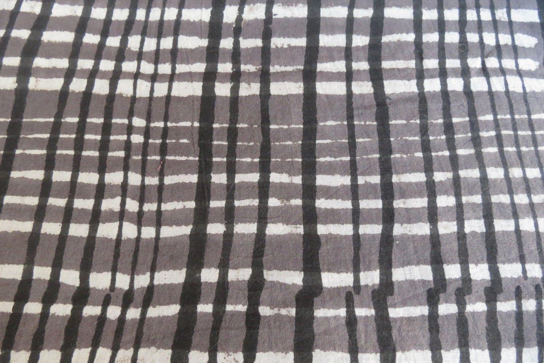 Tricolor Checks Block Print Fabric