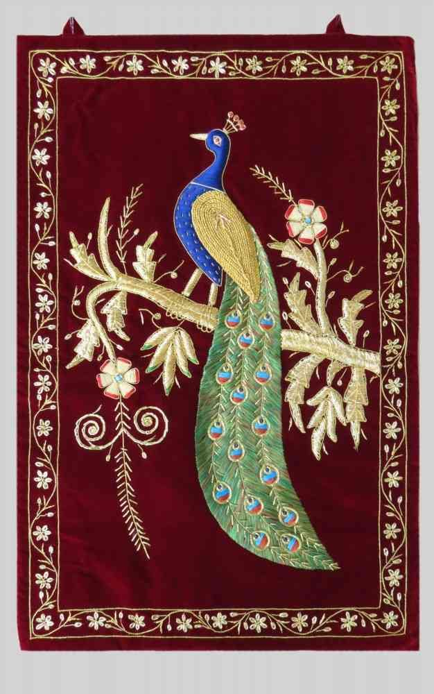 Maroon Hand Embroidered Peacock Indian Wall Tapestry