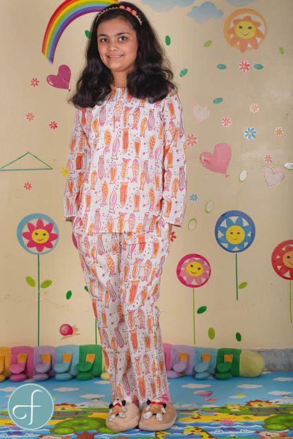 Fish Block Print Kids Cotton Night Suit