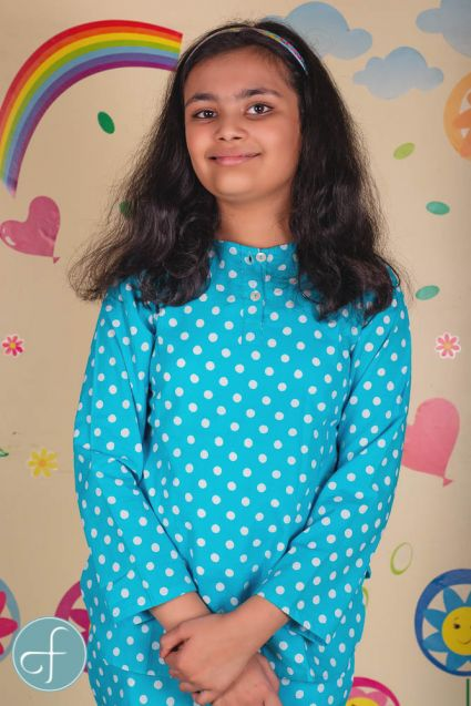 Blue Polka Dot Kids Cotton Night Suit