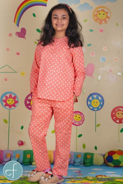 Peach Polka Dot Kids Cotton Night Suit