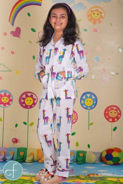 Jungle Giraffe Kids Cotton Night Suit
