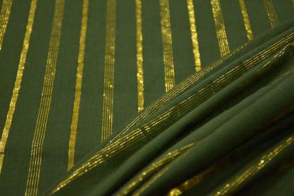 Moonlight Green Golden Zari Striped Cotton Fabric