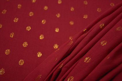 Tango Red Golden Zari Buti Cotton Fabric
