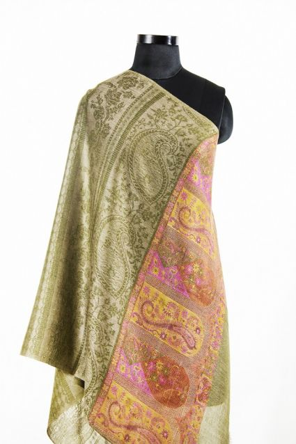 JACQUARD FRONTIER GREEN TAUPE 100 CASHMERE SCARF FROM INDIA