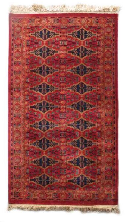 ANTIQUE RED HAND KNOTTED WOOL RUGS FROM INDIA
