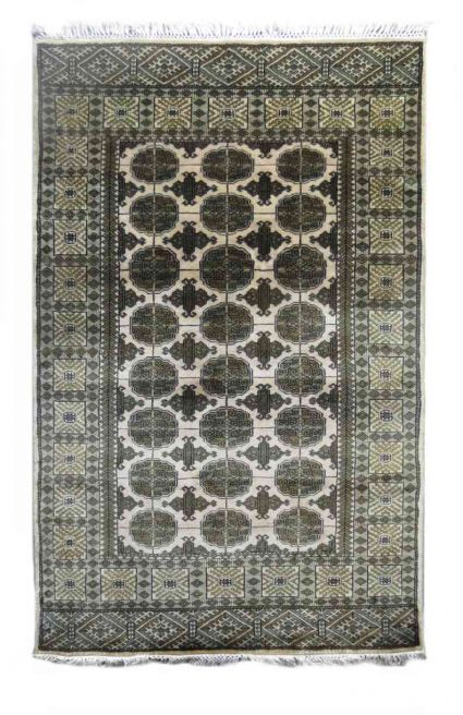 CREAM AND GREEN HANDMADE WOOLEN CARPET FROM INDIA