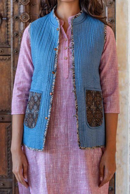 Ajrakh Reversible Cotton Quilted Sleeveless Jacket