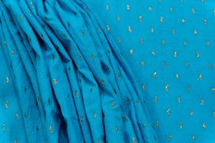 Azure Blue Golden Zari Boota Cotton Fabric