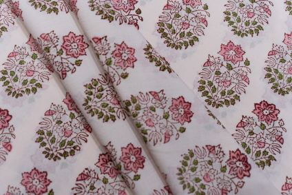 SHADOW PINK FLORAL BLOCK PRINTED COTTON FABRIC-HF5049