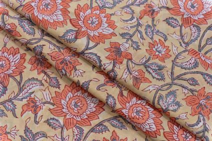 PEACH YELLOW FLORAL BLOCK PRINTED COTTON FABRIC-HF5064