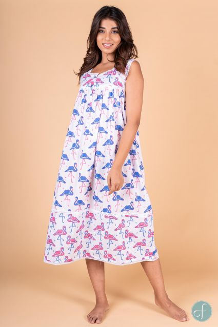 Blue Pink Block Print Sleeveless Night Gown