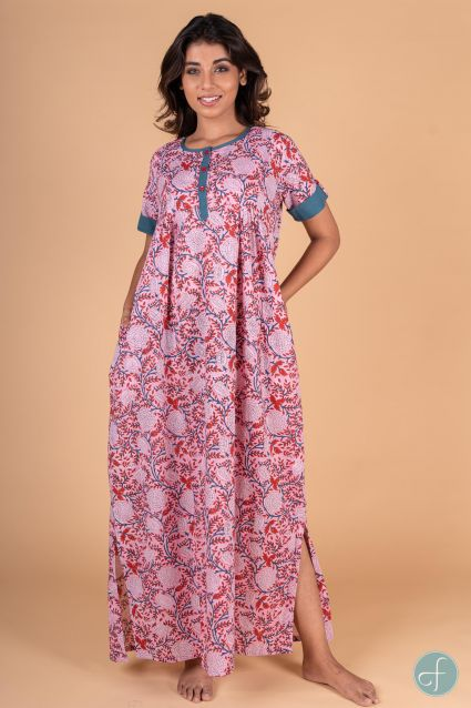 Pink Red Floral Block Print Night Gown