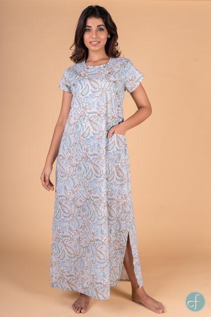 Blue Grey Block Print Maxi Gown
