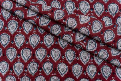 CHERRY RED HAND BLOCK PRINTED COTTON FABRIC-HF5097