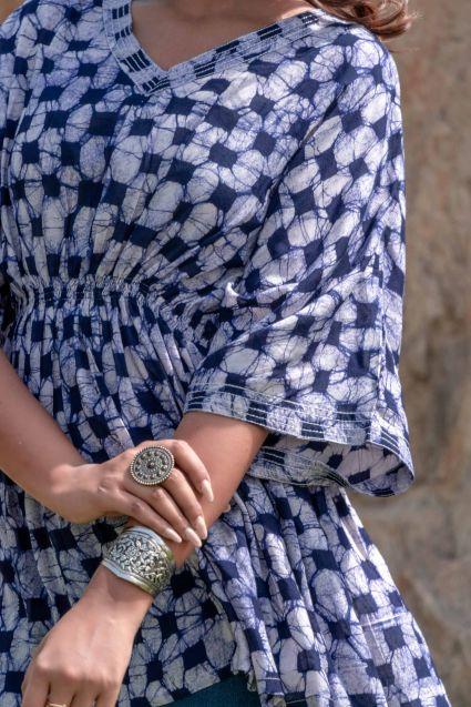 Navy Blue Batik Kaftan Top