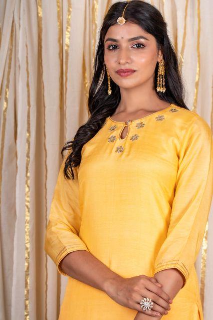 Bright Yellow Muslin Silk Kurta Pant Set