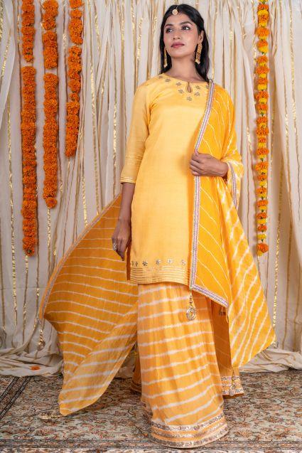 Bright Yellow Muslin Silk Kurta Skirt Set