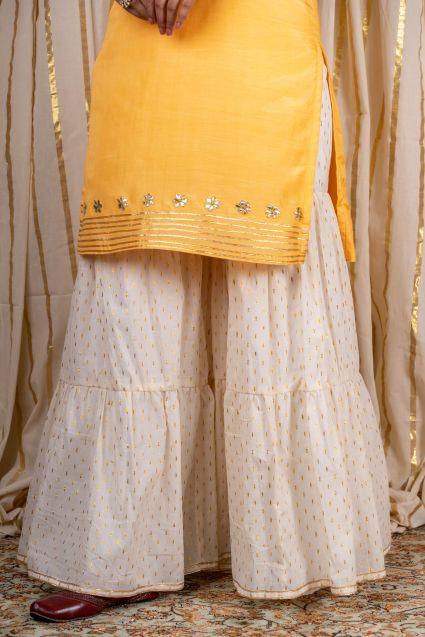 Bright Yellow Muslin Silk Kurta Sharara Set